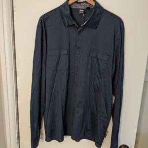 Hugo boss navy blue cotton shirt size XL